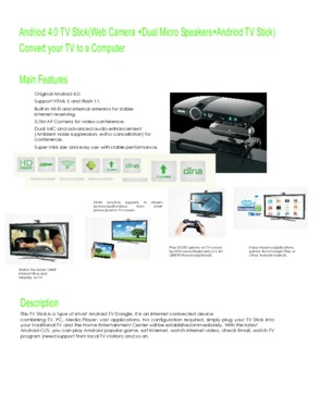 5.0M AF Camera with Dual Micro Speakers and 4.0 Andriod TV Stick