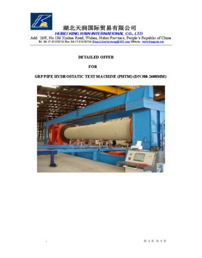 GRP Pipe Hydrostatic Test Machine