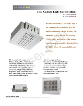 100W Motion Sensor Canopy Light