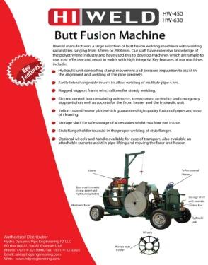 Butt Fusion Welding Machine HW 225 Semi Manual