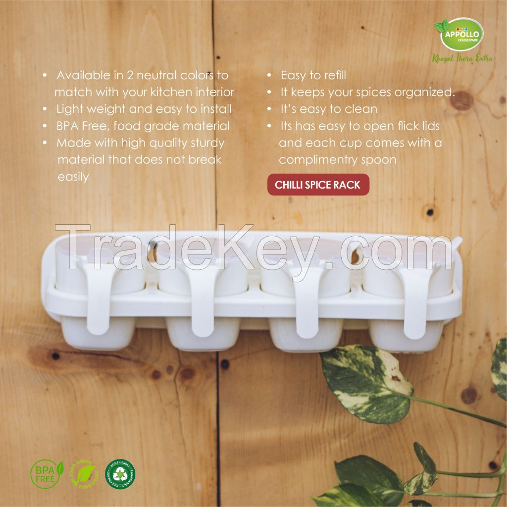 Chilli Spice Rack, spice rack for kitchen, 3 tier rack for kitchen, easy to handle durable high quality plastic rack for storage, unbreakable, non-toxic, BPA free, space saver design.