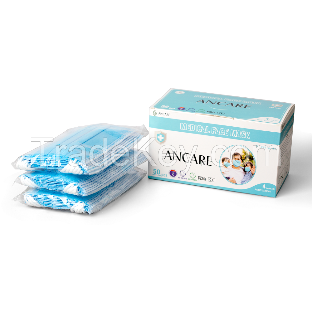 3 PLYS DISPOSABLE FACE MASK - LEVEL 1 ASTM - TYPE I (EN 14683) - 95%