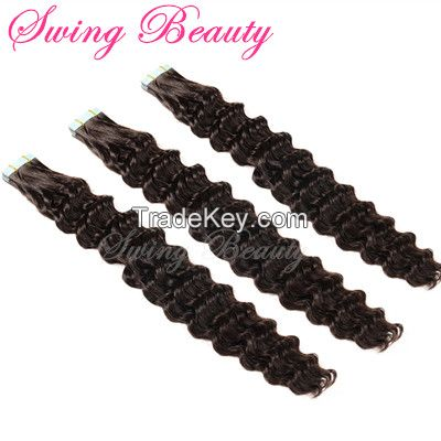 Easy Tape Hair Extension Natural Virgin Human Hair Curly Style