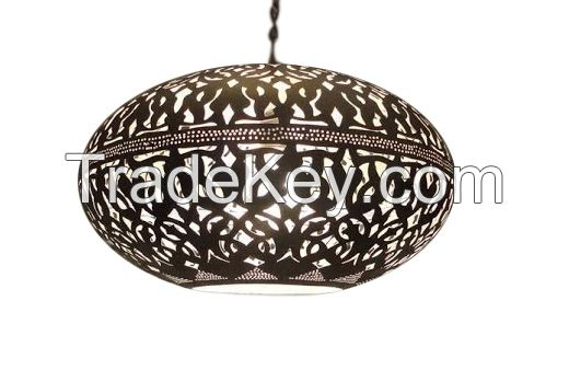 Silver Plated Brass Moroccan Pendant Light