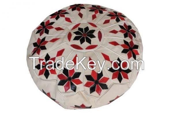 Floor leather Pouf