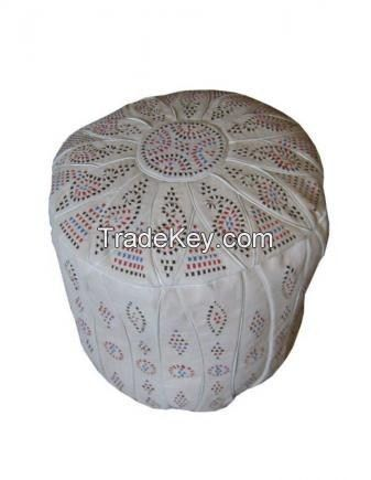 """18"""" Height Moroccan Leather Ottoman Pouf Footstool"""