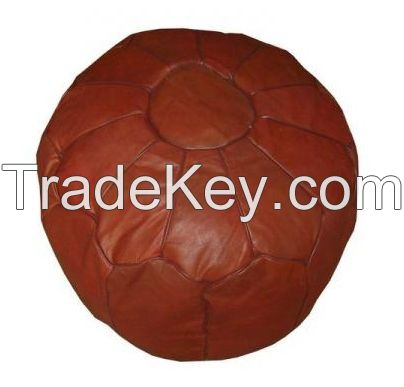 Brown Leather Footstool- Moroccan Pouf