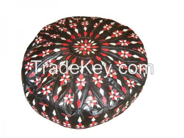 Moroccan Leather Ottoman Pouf Footstool-XL