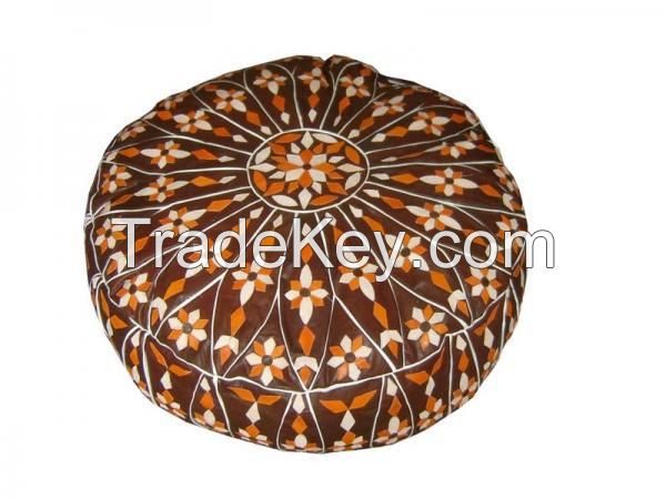 Moroccan Leather Pouf Ottoman Footstool-XL 4