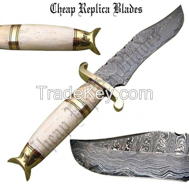 Bone Handle Damascus Knife