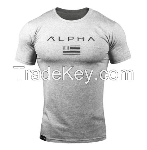 Men's Gym Muscular Fitness Bodybuilding Crew Neck T Shirt