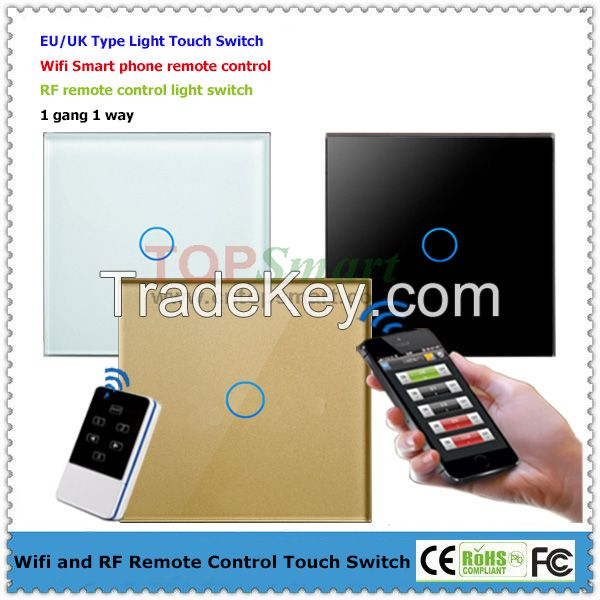 EU/UK Wifi Remote control glass panel touch light switch with LED backlight indicator