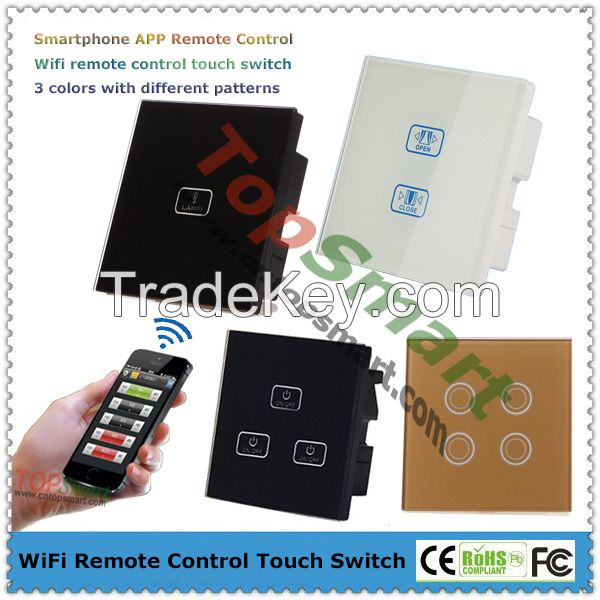 UK Type Wifi Remote Control Glass Panel Touch Light Switch with LED backlight indicator