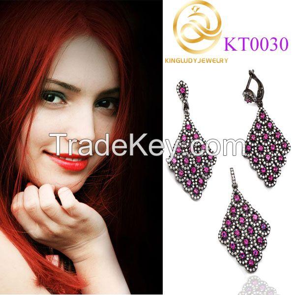Elegant Jewelry Party Fashion Silver Diamond Jewelry Set For Girls