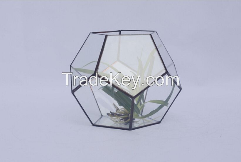 Sunshine Greenhouse, Mini landscape greenhouse, Small Terrarium Cube, glass vase, glass decoration, candle holder, stained glass cube