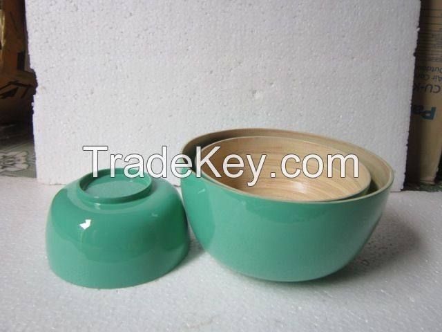 Bamboo fiber bowl, serving bowl, spun coiled bamboo bowl, salad bowl, fruit bowl, lacquer bowl, coconut shell bowl
