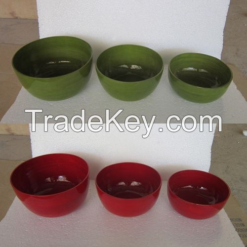 Vietnam spun coiled bamboo bowl for exporting