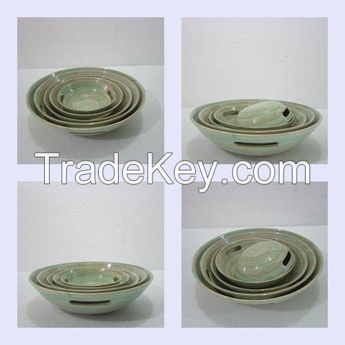 Bamboo fiber bowl, serving bowl, spun coiled bamboo bowl