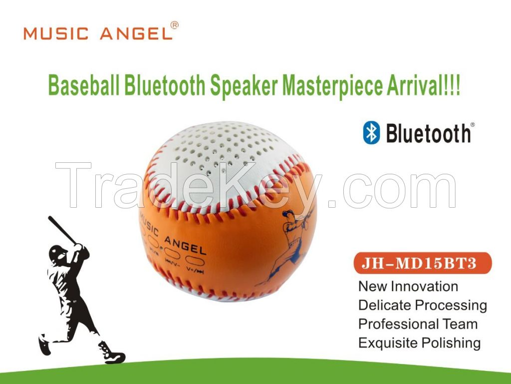 Music Angel Bluetooth Speakers Portable Baseball Outdoor Handsewn Leather Wireless Bluetooth Speakers NFC Hand-Free Call Mini Speaker Best Adapter and Quality