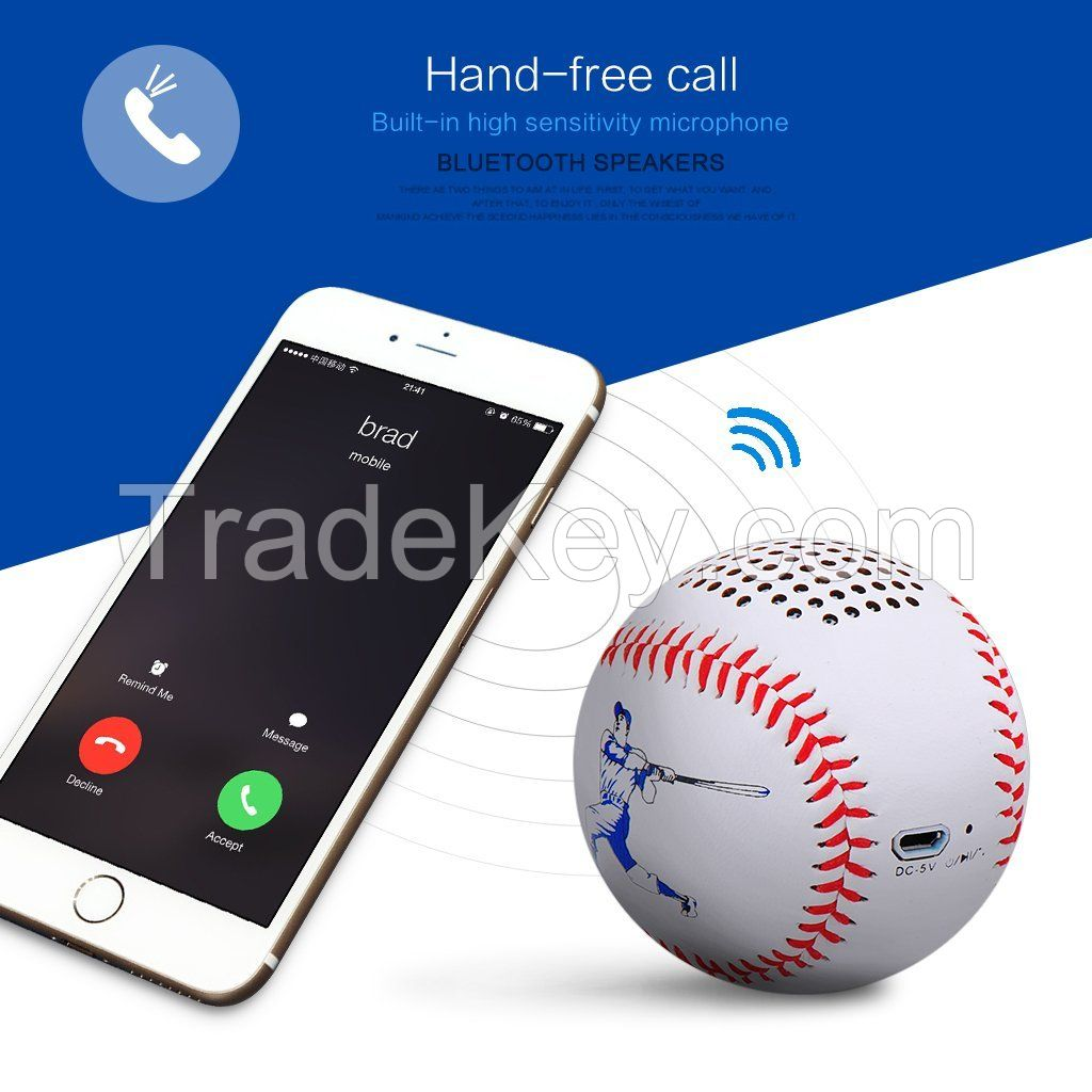 Bluetooth Speakers Loudseaker Sound Quality 10h Portable Baseball Outdoor Handsewn Leather Music Angel Wireless Bluetooth Speakers Hand-Free Call Mini Speaker 3.0 Tech