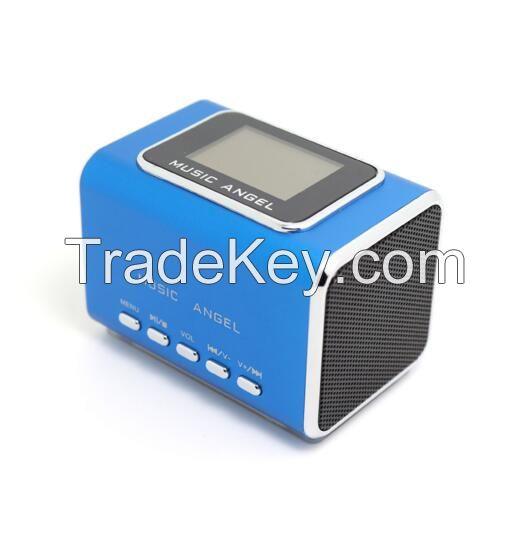Md05X Music Angel Speakerportable Digital Mini Speaker Sound Box FM Radio LCD Screen Support USB TF/Micro SD Card, Travel Stereo Speaker for iPhone iPad iPod MP3 Player