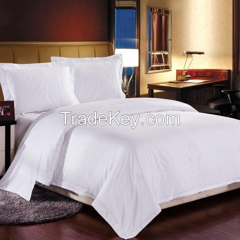 100% Cotton 300tc Plain White Hotel Textile Hotel Bed Linen