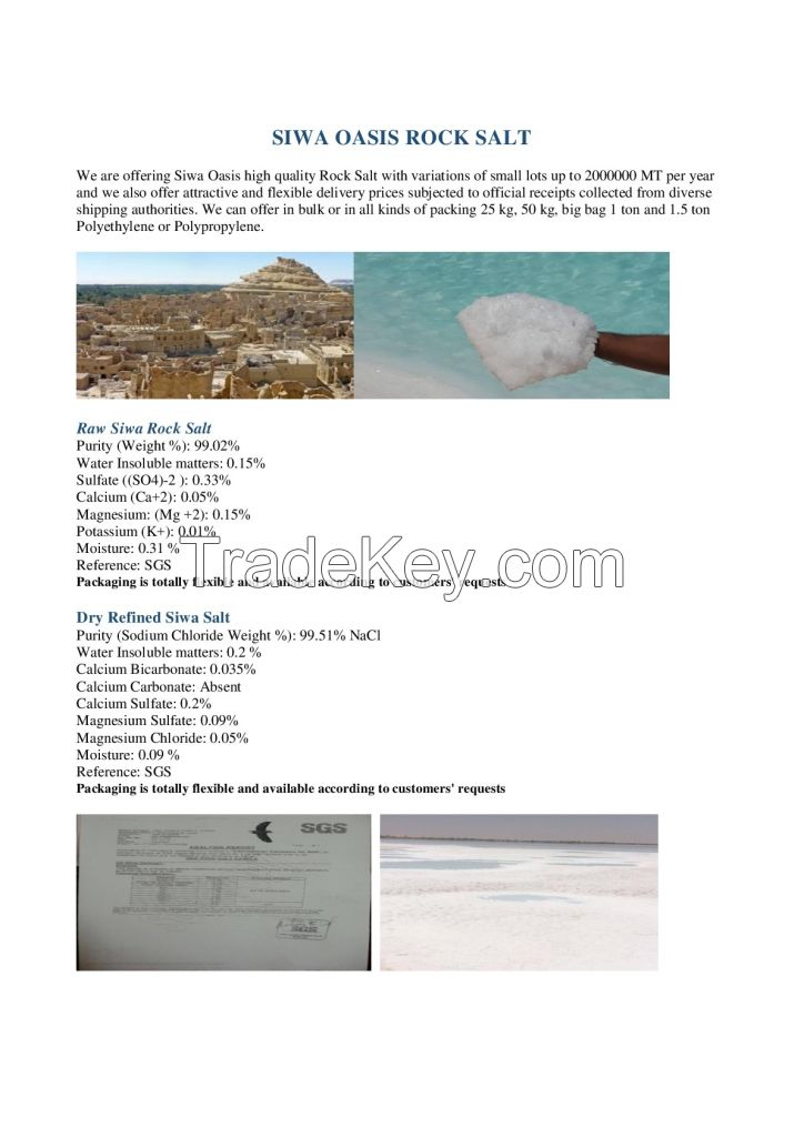 De-icing and Refined Siwa Rock Salt