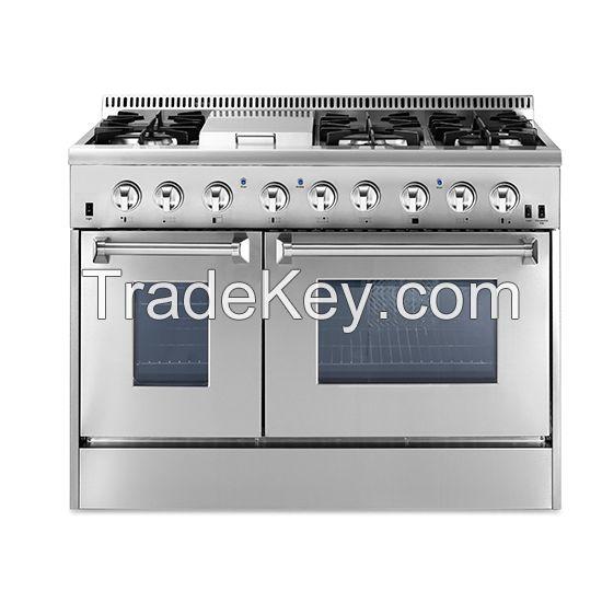 "48 "" Thor kitchen Dual Fuel Range 6 Burners Oven Stainless Steel Range HRD4803U"
