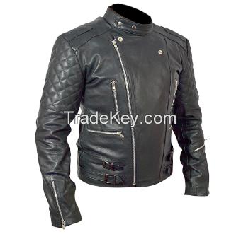 Brando Mens Motorcycle Biker Black Genuine Leather Jacket