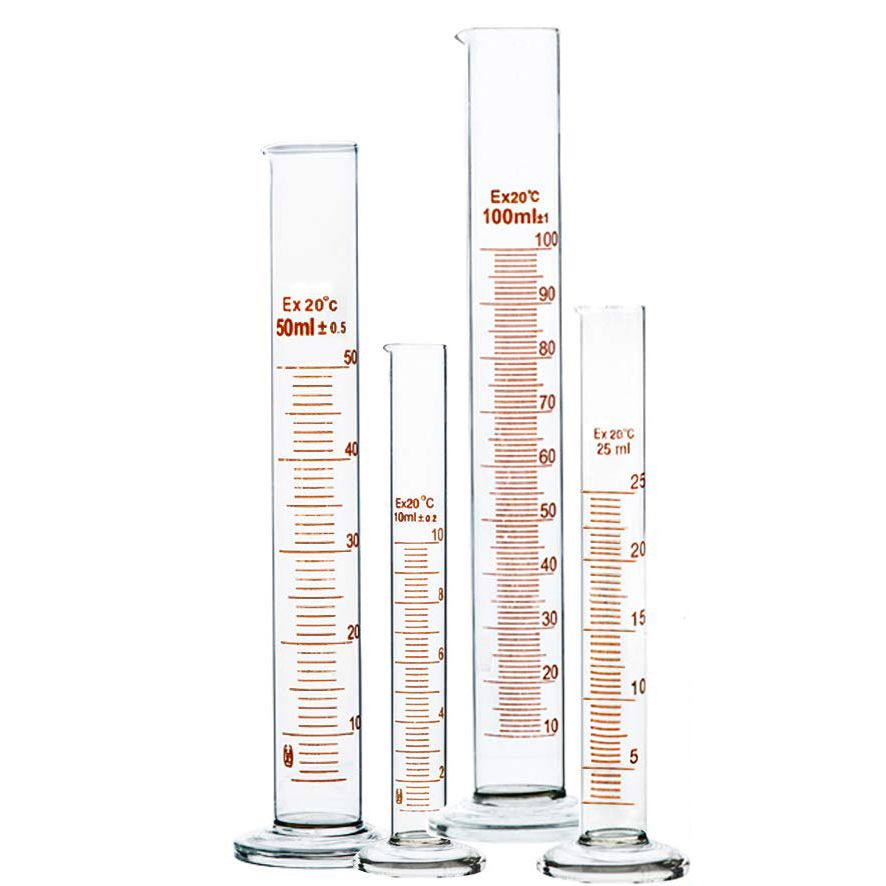 Heavy wall Glass Graduated Cylinder with Tapered Pour Spout