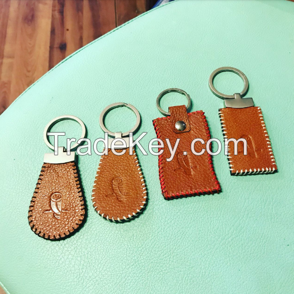 Personalized handmade keychains from leather