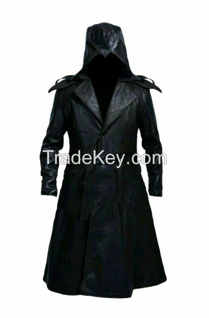 Mens Black Long Leather Jacket Coat Cowhide Synthetic Knee Length Hooded