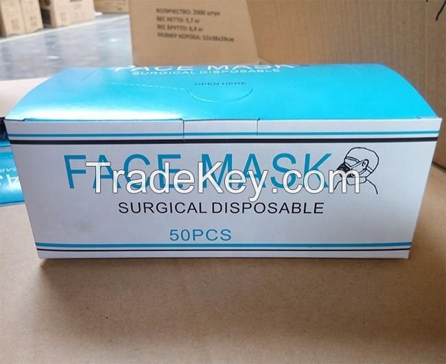 Disposable Non-woven 3M 3-ply Ear-Loop Surgical Face Mask