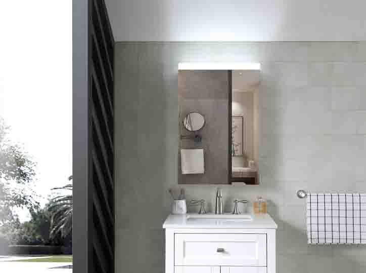 Luxury Custom Wall Mount Backlit Illuminated Lighted LED Bath Bathroom Vanity Mirrored Medicine Mirror Cabinet
