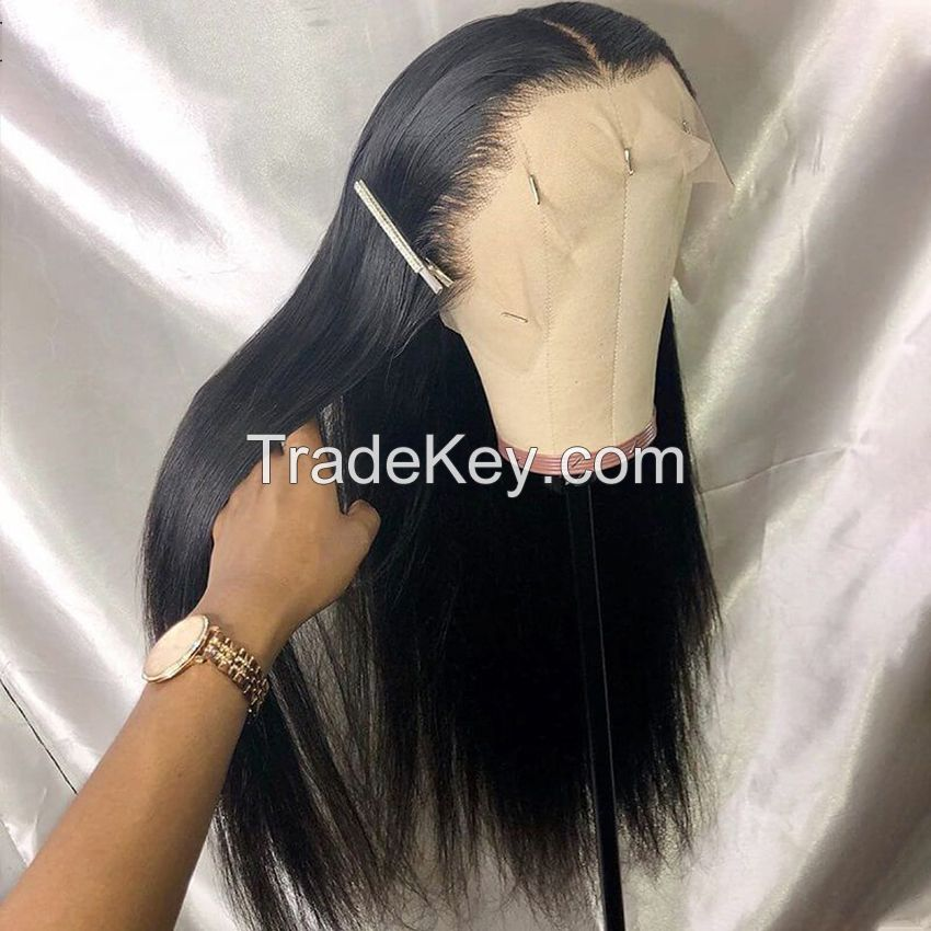Wholesale Virgin Hair Vendors 100% Brazilian Human Hair Wig Long Black Straight Hair Wig Cheap Lace Frontal 13x4 Wig for Women