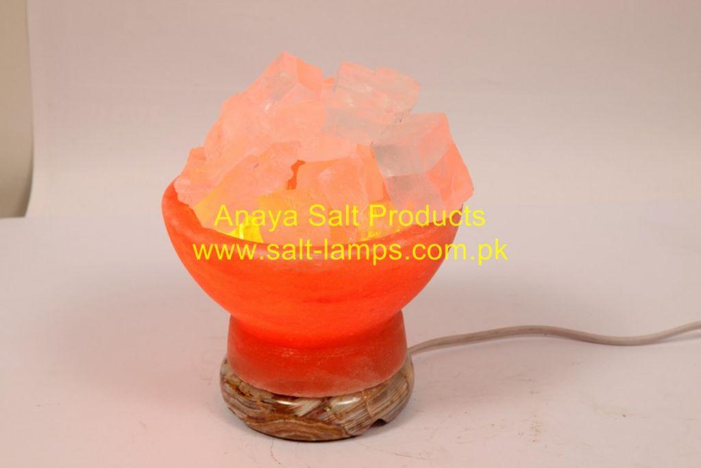 Himalayan Fancy Salt Bowls/Himalayan Crafted Fancy Salt Bowl Lamps/Himalayan Crystal Rock Salt Lamps/Himalayan Salt Diffuser and Ionizer/ Fancy Salt Bowls with Chunks