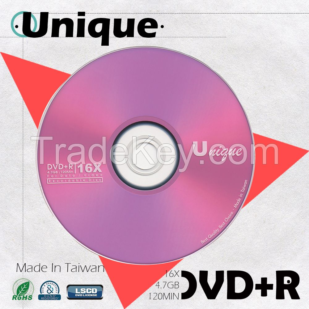 Sell Unique Taiwan Brand DVD+R 4.7GB 16X Blank Discs Wholesale