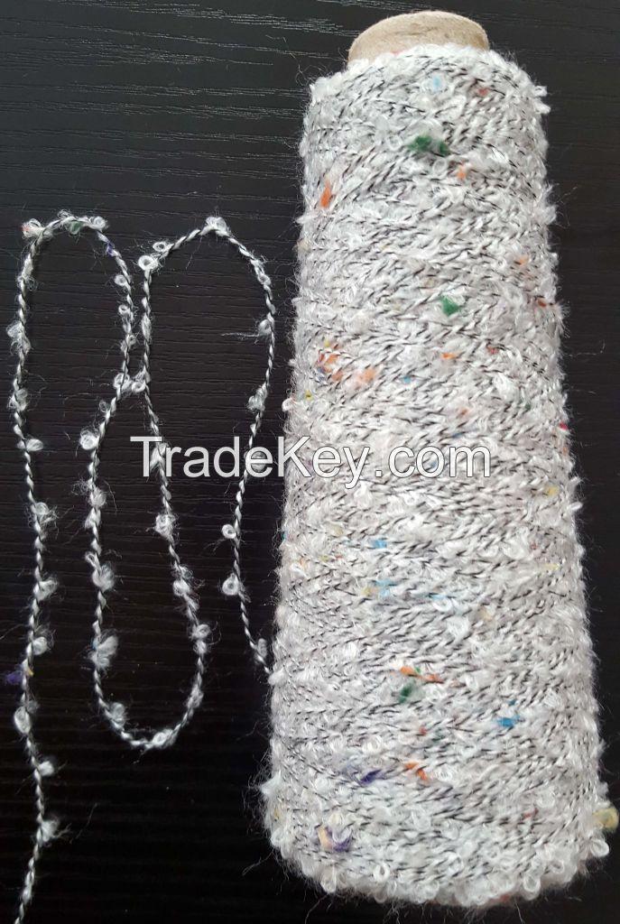 77%Acrylic 23%Polyester colour Neps loop yarn fancy yarn boucle yarn