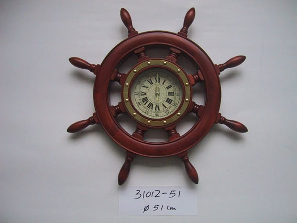 wooden wheel wall clock  hanging