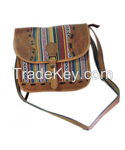 Cotton with Leather Mix Lady bag