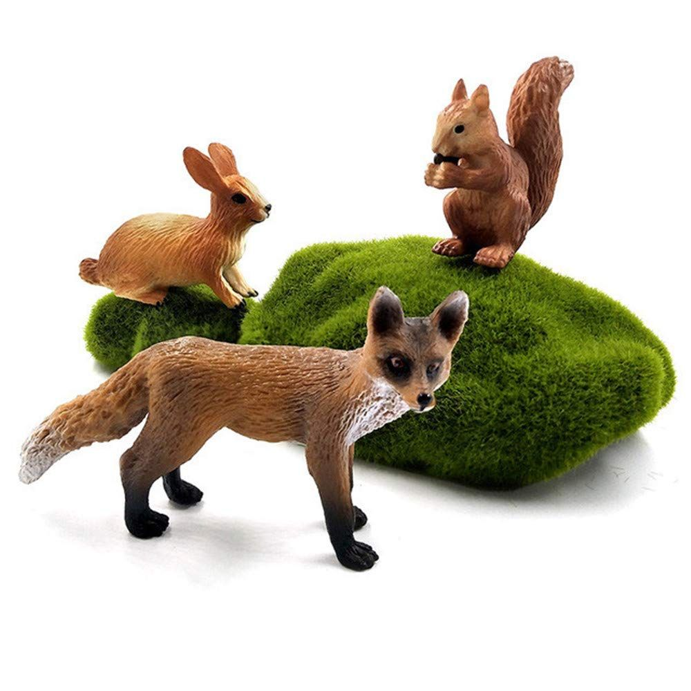 OEM professional resin figurines decorative animals mini cute rabbit hare squirrel fox figures animals set model toys for miniature fairy garden decoration ornament