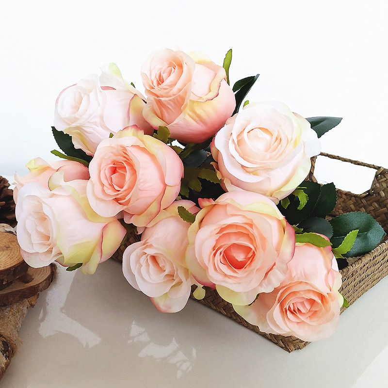wholesale Artificial silk roses 50cm long 9heads flowers for bouquets , mother's day wedding or gift