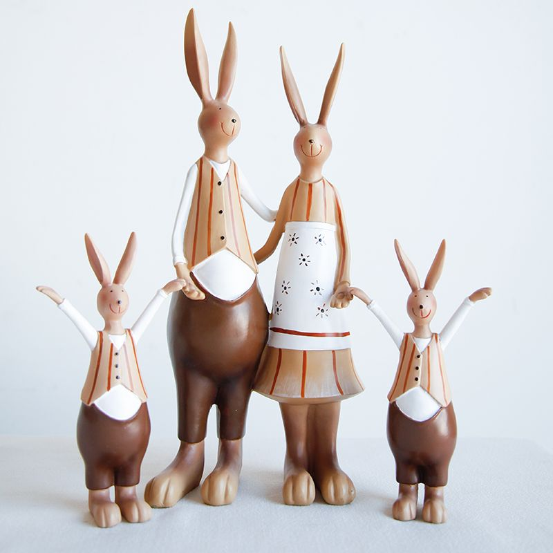 Custom country resin rabbit family crafts toy for desk decoration