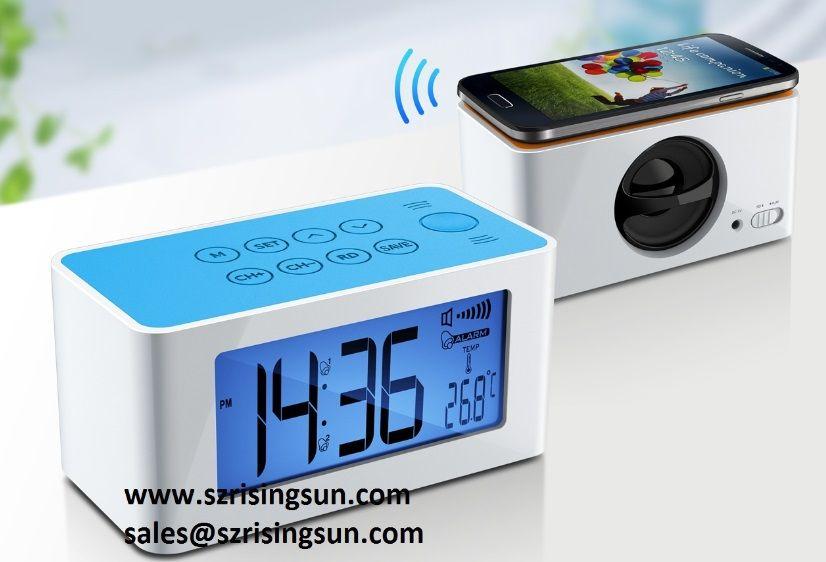 FM Radio Alarm Clock with Mutual Induction Magic Speaker