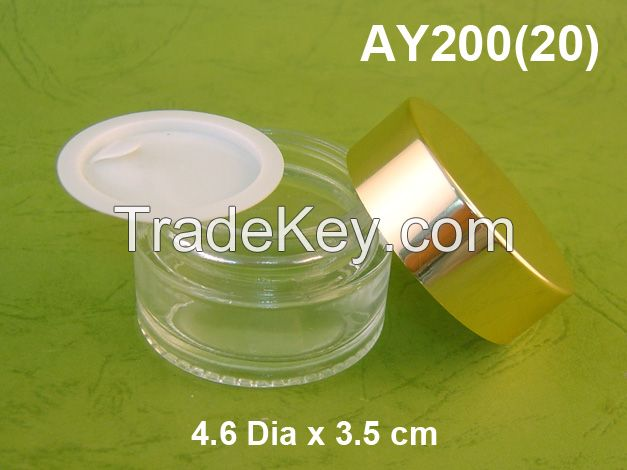 20 gr Glass Cosmetic jar with Aluminum Lid