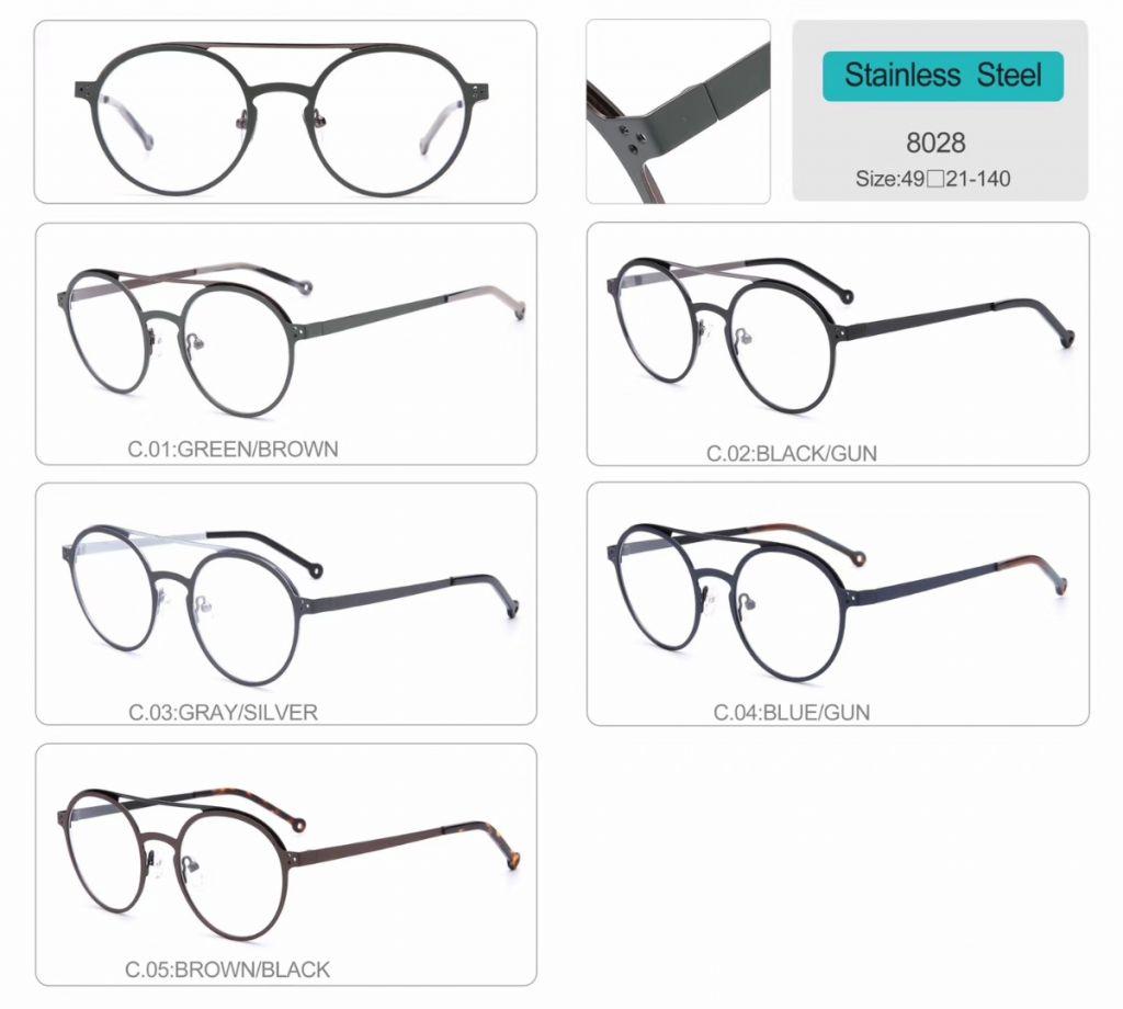 round shape metal optical frames eyeglasses 8028