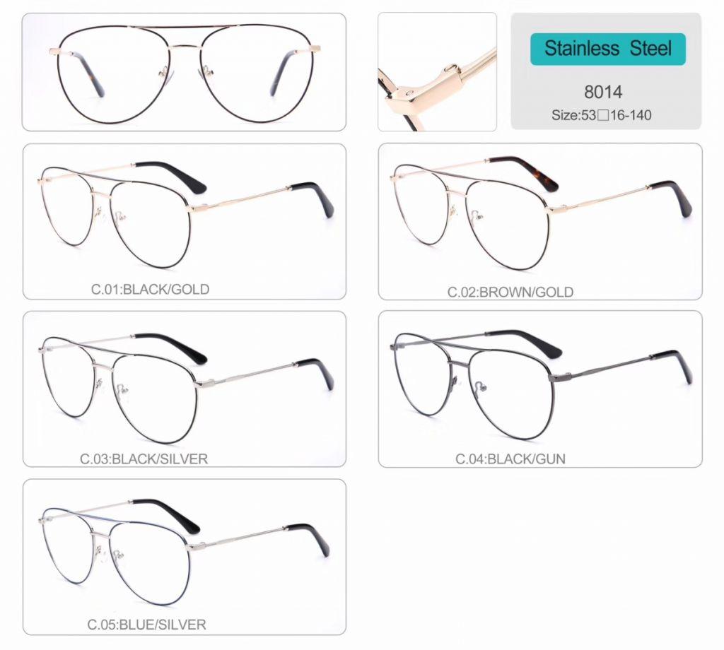 Stainless Steel Optical Frames metal eyeglasses 8014