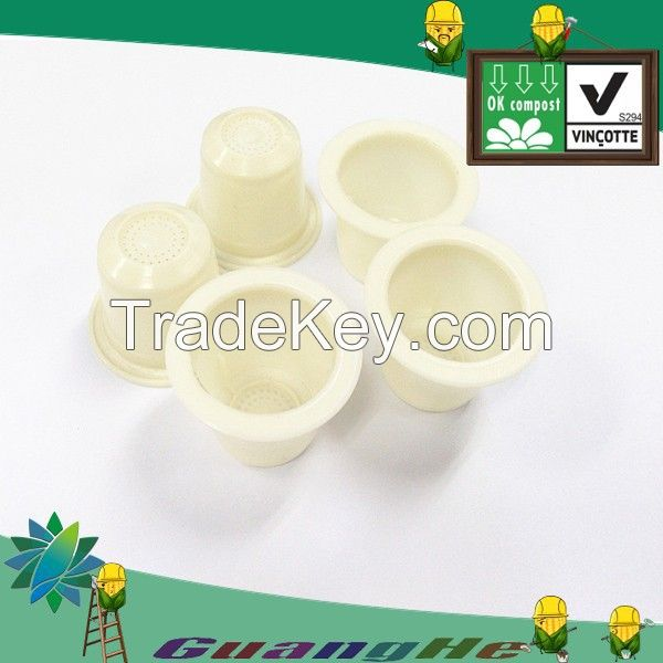 PLA white coffee capsule, Eco friendly empty nespresso coffee capsule