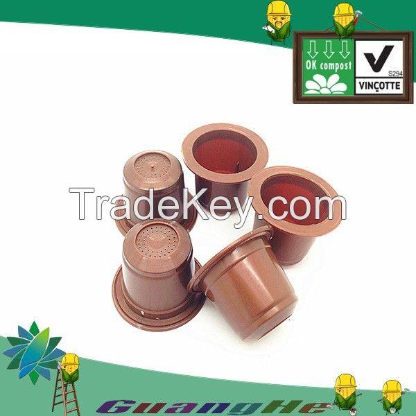 Biodegradable PLA Nespresso Capsule, PLA material brown coffee capsule