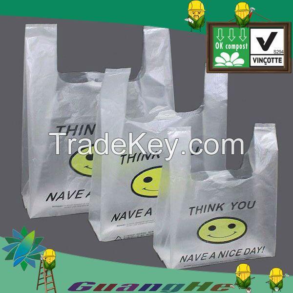 100% biodegradable PLA T-shirt shopping bags, vest bag, compostable shopping bag